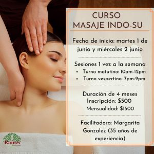 Fechas Curso de masaje INDO SU - JUNIO 2021 Raíces Bienestar integral